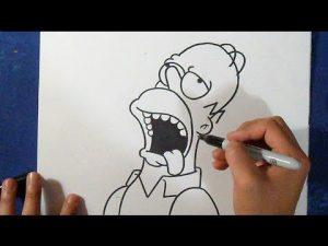 Cómo Dibuja A Homer Simpson A Lápiz Fácil Paso a Paso