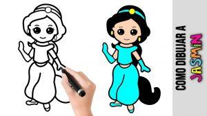 Dibujar A Jasmin De Disney Paso a Paso Fácil