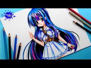 Cómo Dibuja A La Princesa Twilight Sparkle De Equestria Girls Animé Fácil Paso a Paso
