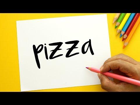 Cómo Dibujar A Partir De La Palabra Pizza Fácil Paso a Paso