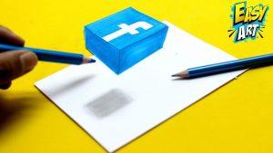 Dibujar El Logo De Facebook En 3D Fácil Paso a Paso