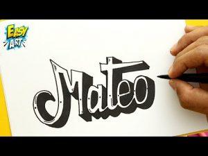 Dibuja El Nombre Mateo Fácil Paso a Paso