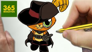 Dibujar Gato Con Botas Fácil Paso a Paso