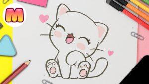Dibujar Gato Kawaii Fácil Paso a Paso