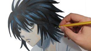 Dibujar L Death Note Fácil Paso a Paso