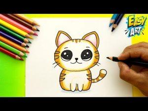 Cómo Dibujar Un Gato Estilo Cute Fácil Paso a Paso