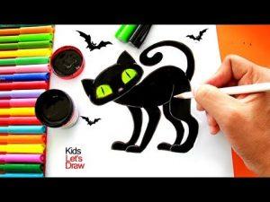 Dibujar Un Gato Negro Para Halloween Paso a Paso Fácil
