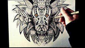 Dibujar Un León Estilo Zentangle Fácil Paso a Paso