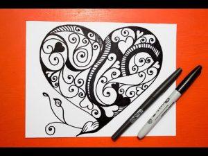 Dibujar Un Mandala En Forma De Corazón Paso a Paso Fácil