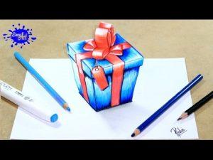 Cómo Dibuja Un Regalo De Navidad En 3D Paso a Paso Fácil