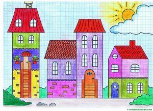 Dibujar Una Ciudad Paso a Paso Fácil