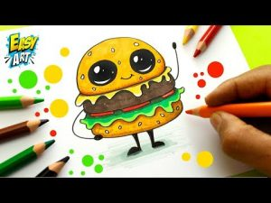 Dibujar Una Hamburguesa Estilo Cute Paso a Paso Fácil