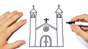 Cómo Dibuja Una Iglesia Paso a Paso Fácil