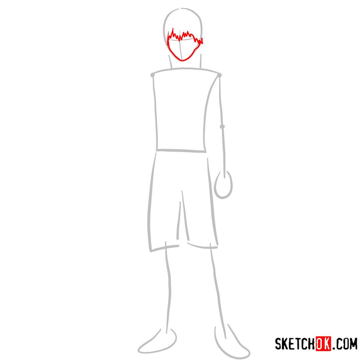 Cómo dibujar el crecimiento completo de Ken Kaneki | Tokyo Ghoul - paso 02