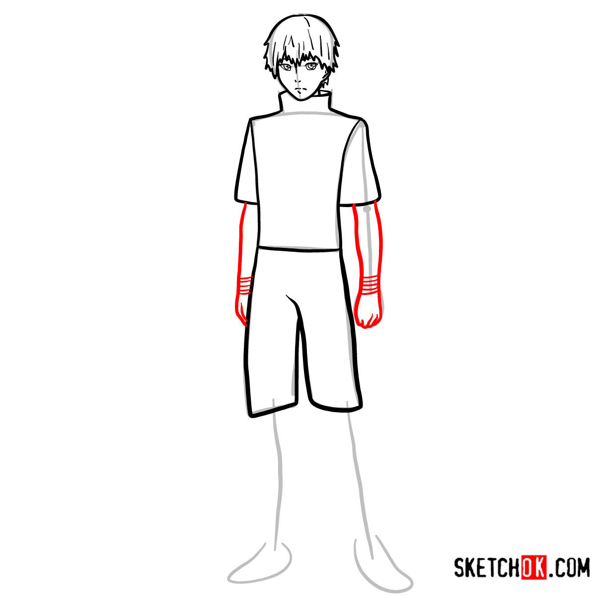 Cómo dibujar el crecimiento completo de Ken Kaneki | Tokyo Ghoul - paso 08