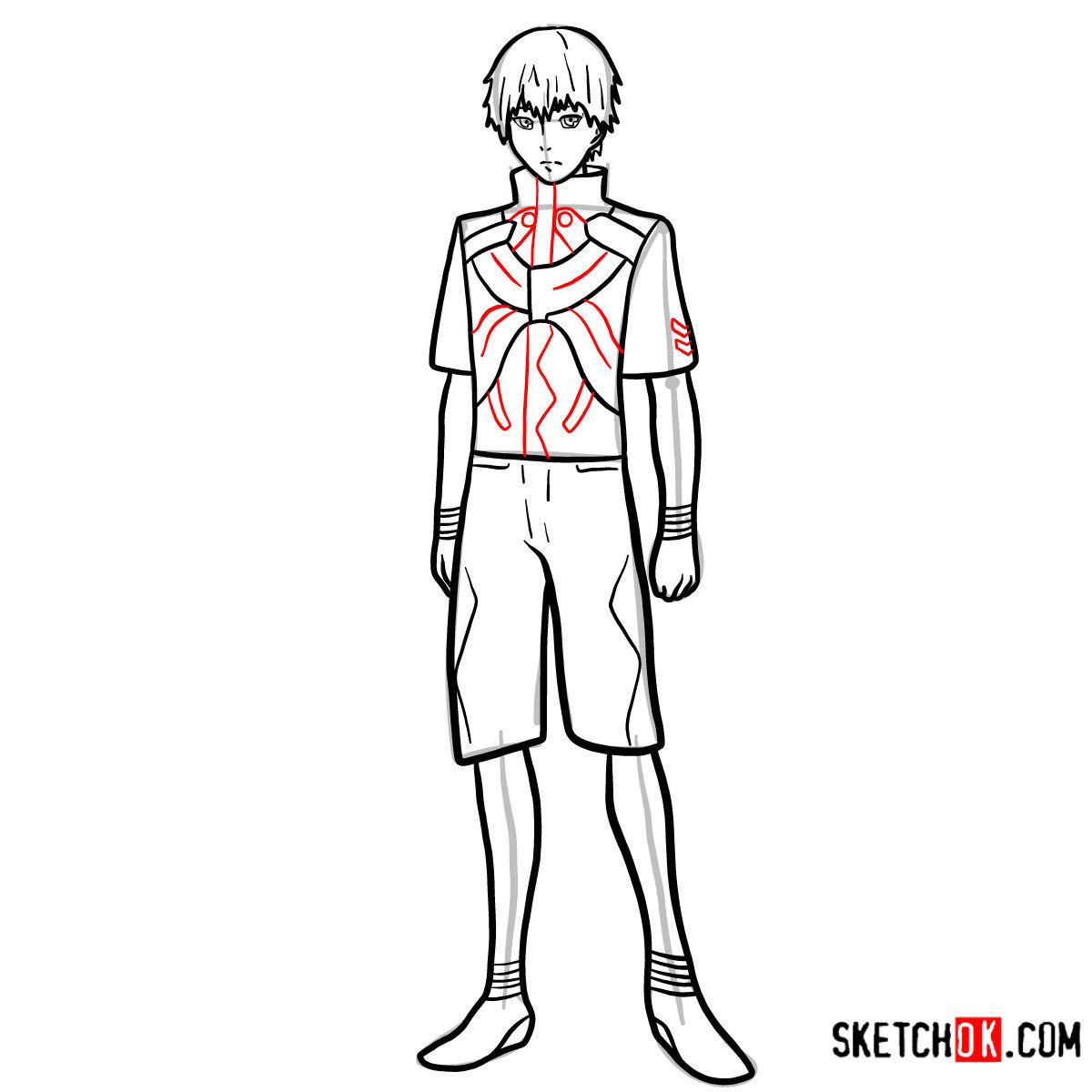 Cómo dibujar el crecimiento completo de Ken Kaneki | Tokyo Ghoul - paso 12