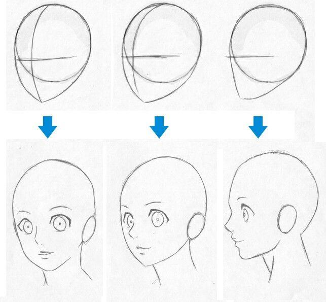 Diferentes perspectivas de rostros anime  Aprender a dibujar anime  Como  dibujar animes  Como aprender a dibujar, dibujos de Caras Y Rostros Animé, como dibujar Caras Y Rostros Animé paso a paso