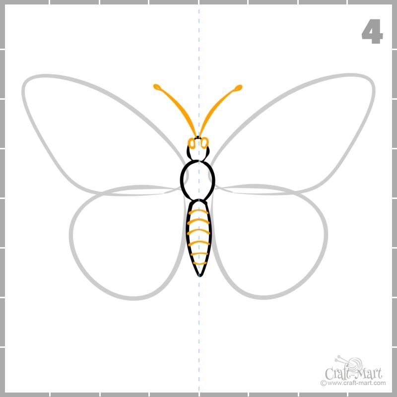Cómo dibujar la cabeza de una mariposa