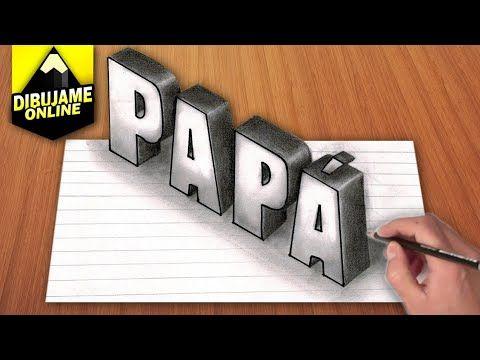 COMO DIBUJAR LA PALABRA PAPÁ EN 3D en 2020  Cómo dibujar  Dibujos 3d  Papa, dibujos de A Partir De La Palabra Papa, como dibujar A Partir De La Palabra Papa paso a paso