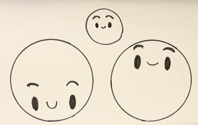 Distintas caras kawaii - aprende muy fácil a dibujar kawaii