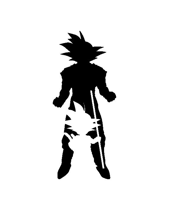 Pegatina Goku Siluetas - Dragon Ball  Dragones  Personajes de dragon ball   Tatuajes goku, dibujos de Una Silueta De Gokú De Dragon Ball, como dibujar Una Silueta De Gokú De Dragon Ball paso a paso