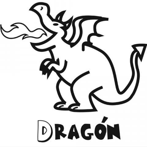 Dibujo para colorear con niños de un dragón, dibujos de Un Dragón Infantil, como dibujar Un Dragón Infantil paso a paso