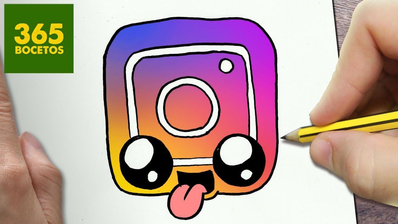 COMO DIBUJAR LOGO INSTAGRAM KAWAII PASO A PASO - Dibujos kawaii faciles - draw a logo Instagram Dibujos kawaii faciles Instagram kawaii Dibujos kawaii, dibujos de Logos, como dibujar Logos paso a paso
