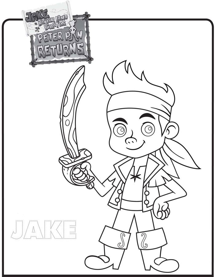 Dibujo de Jake y los Piratas de Nunca Jamás para colorear, dibujos de A Jake De Disney Junior, como dibujar A Jake De Disney Junior paso a paso
