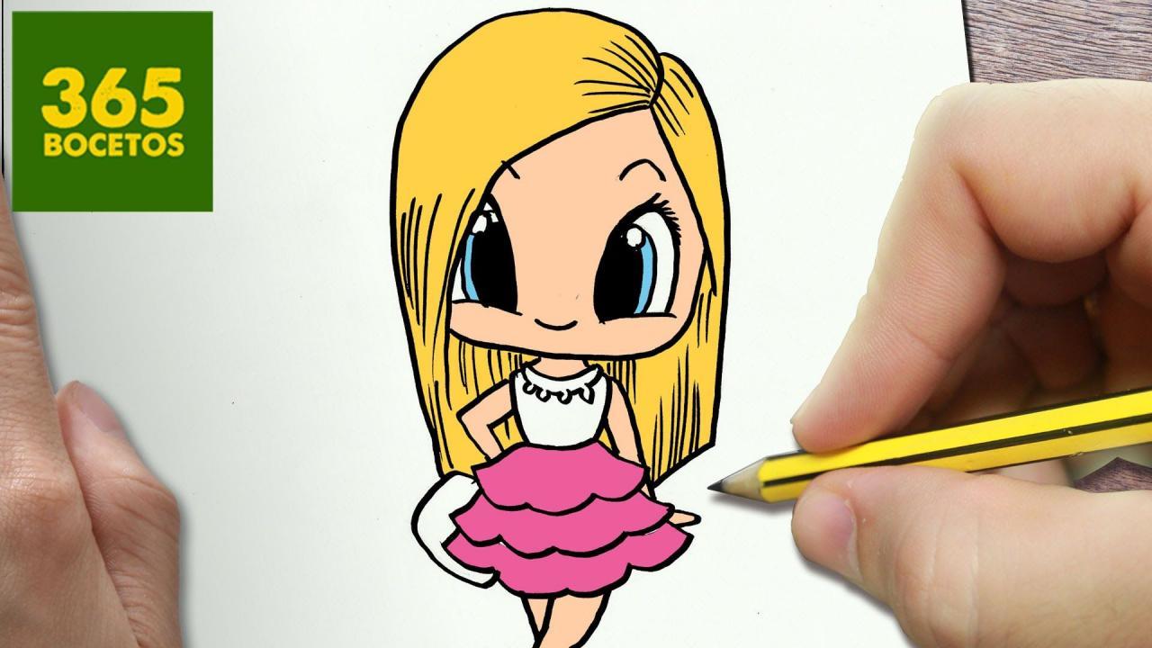 COMO DIBUJAR BARBIE KAWAII PASO A PASO - Dibujos kawaii faciles - How to - - - Dibujos kawaii faciles Dibujos kawaii Dibujos kawaii 365, dibujos de Barbie, como dibujar Barbie paso a paso