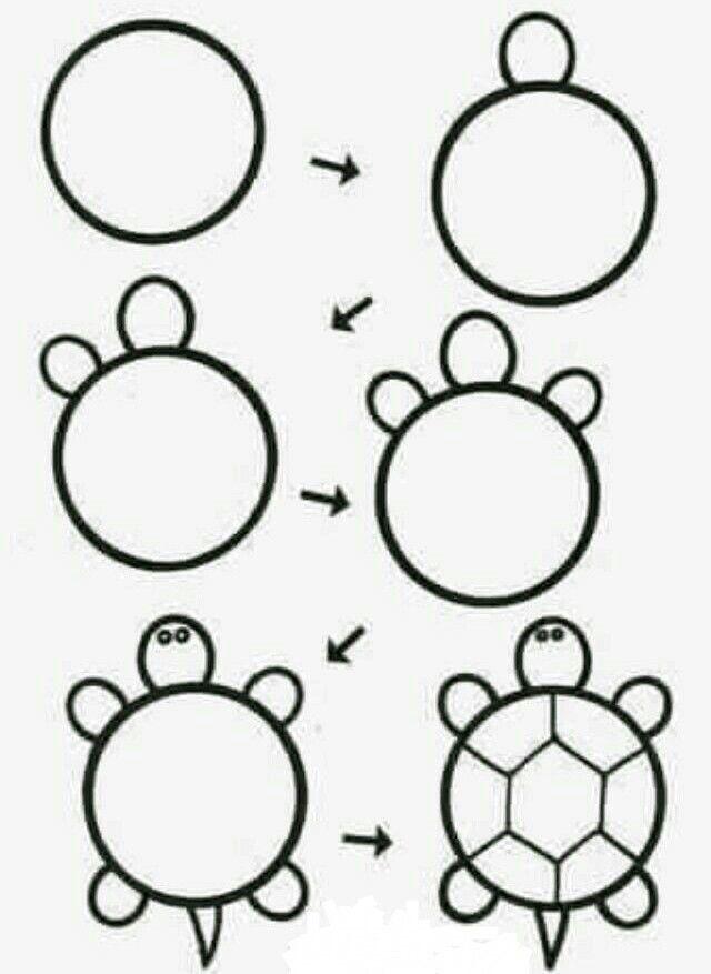 Aprende a dibujar una tortuga fácil y sencillo!!!  Dibujos faciles para  niños  Dibujos fáciles  Drawing lessons, dibujos de Sencillo, como dibujar Sencillo paso a paso