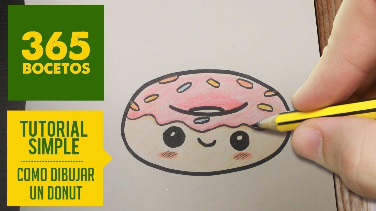 COMO DIBUJAR UN DONUT KAWAII PASO A PASO - Dibujos kawaii faciles - How to  draw a donut  Dibujos kawaii faciles  Dibujos kawaii  Dibujo paso a paso, dibujos de Cosas Kawaii, como dibujar Cosas Kawaii paso a paso