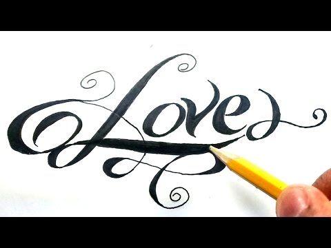 Como dibujar la palabra love paso a paso - (How to draw love in letters)  Love en cursiva - Yo…  Dibujos a lápiz  Dibujos animados a lapiz  Dibujos  fáciles de hacer, dibujos de A Partir De La Palabra Love, como dibujar A Partir De La Palabra Love paso a paso