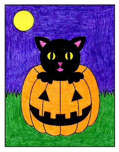 dibujo facil de halloween, paso a paso