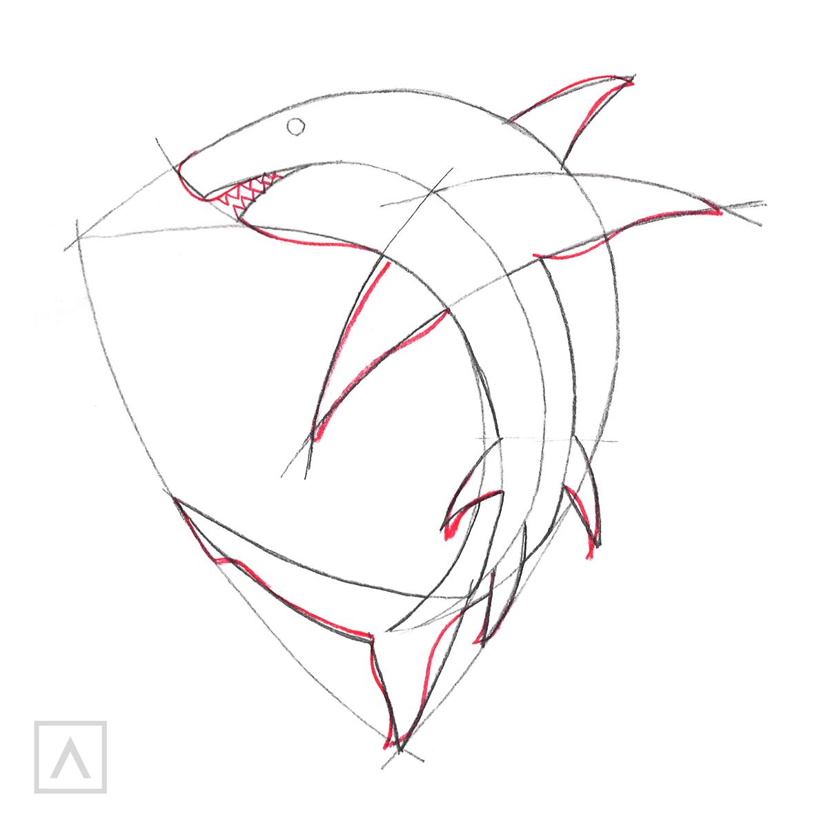 Cómo dibujar un tiburón - Paso 4