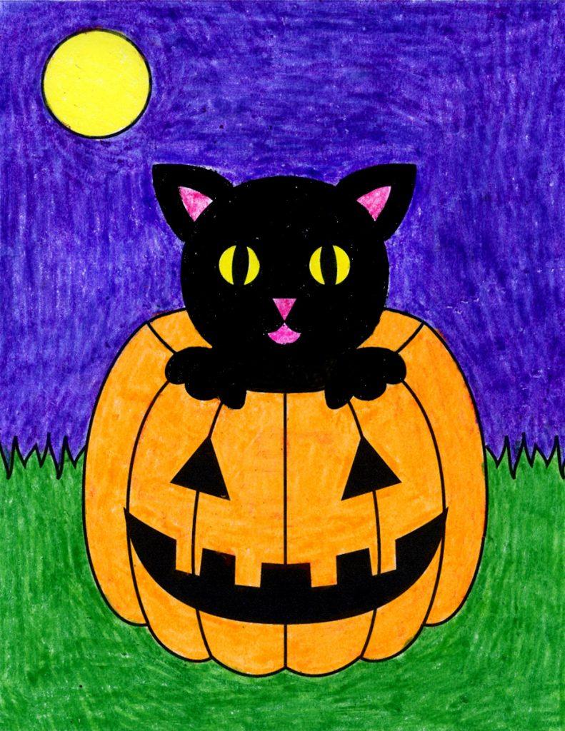 Dibujar un gato con una calabaza de halloween, dibujar cosas de halloween