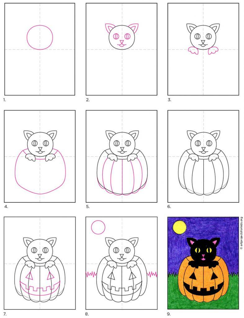 Dibujar un gato en halloween, dibujar cosas de halloween
