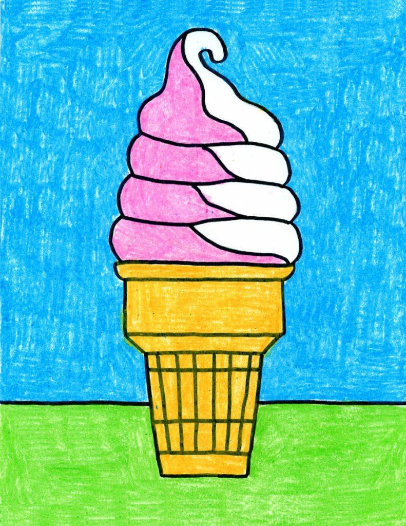 cómo dibujar un cono de helado