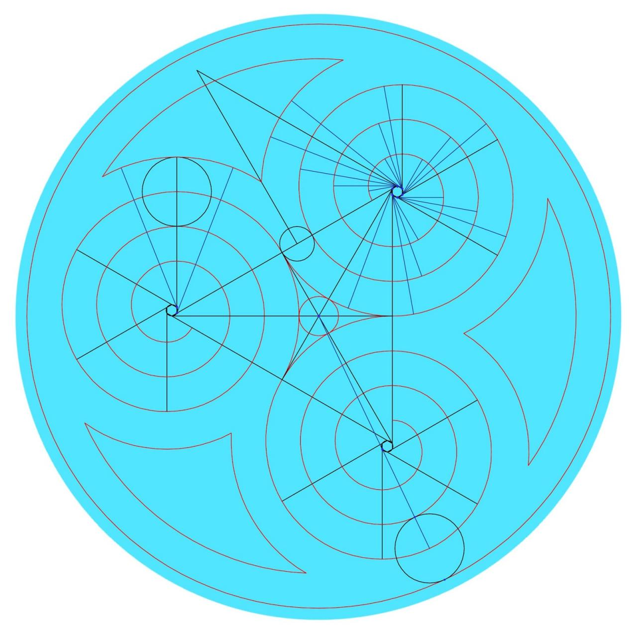 Arabesko: Método para dibujar un trisquel utilizando compás  espiral  Arquímedes -  Method to draw a trisquel  Archimedean spiral  using the  compass -, dibujos de Un Trisquel, como dibujar Un Trisquel paso a paso