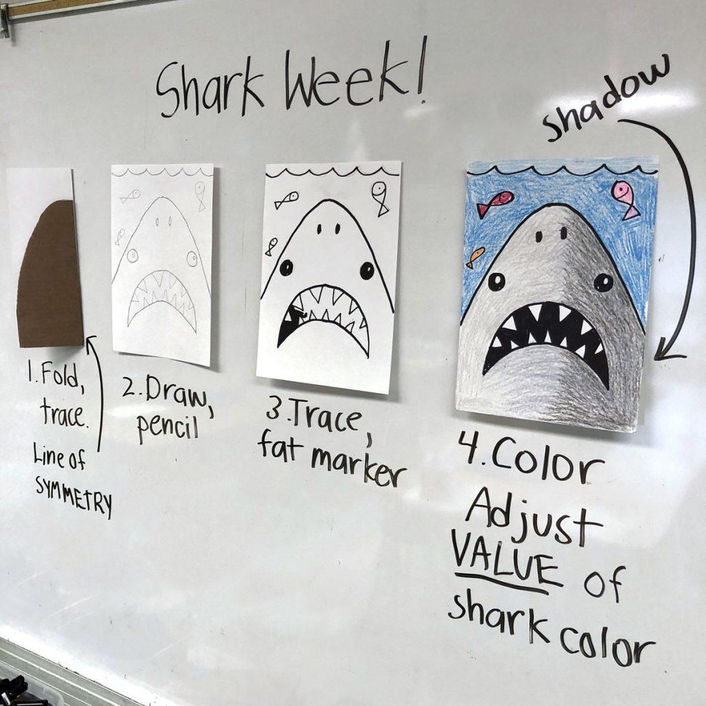 dibujo de tiburon simple