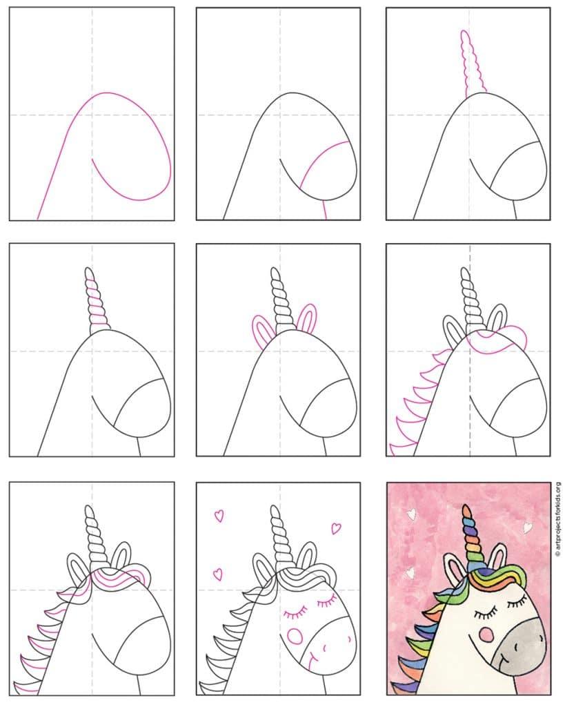 dibujo de unicornio facil