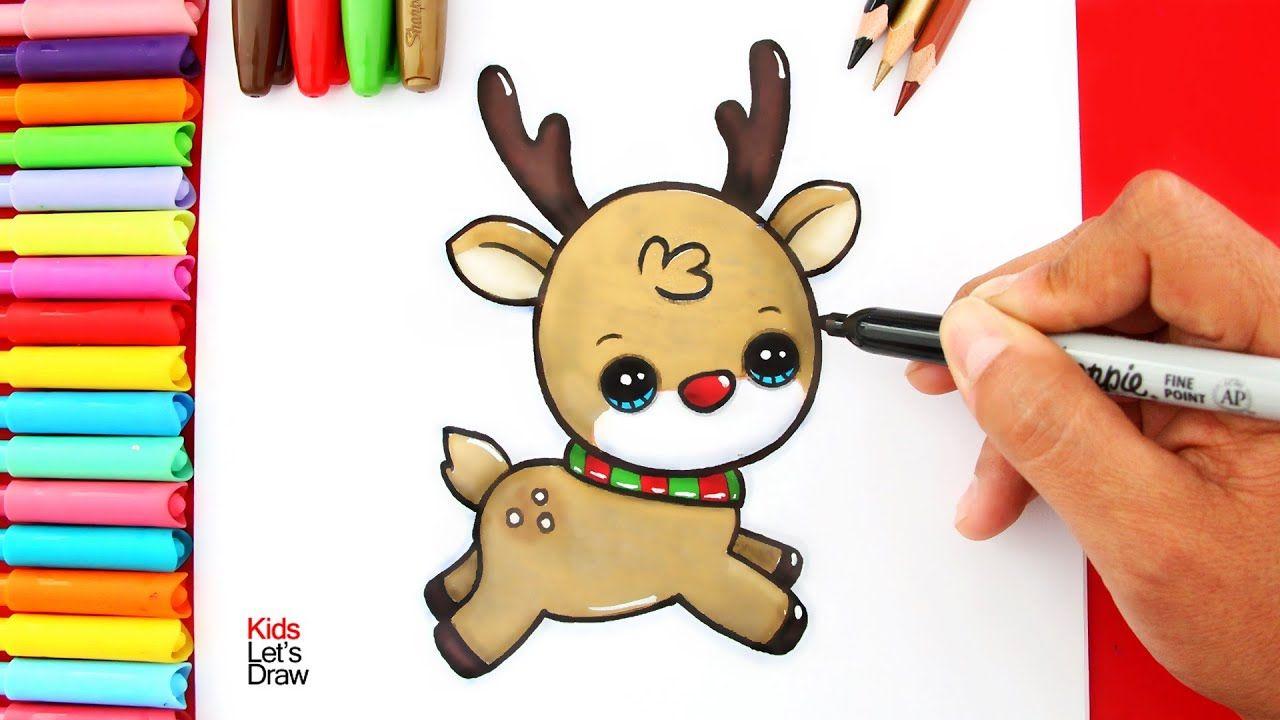 Cómo dibujar un RENO de NAVIDAD Kawaii - YouTube Dibujos de renos Reno Cosas lindas para dibujar, dibujos de Navidad, como dibujar Navidad paso a paso