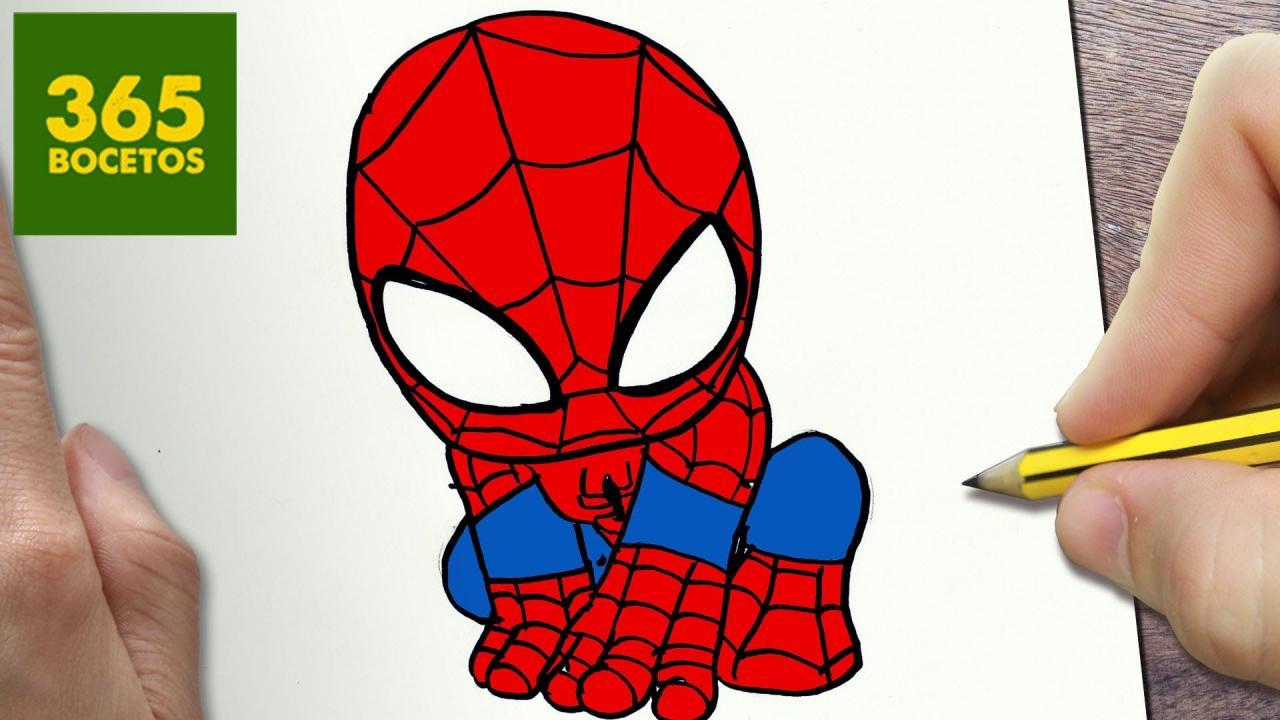 COMO DIBUJAR SPIDERMAN KAWAII PASO A PASO - Dibujos kawaii faciles - How -  -  -    Dibujos kawaii  Dibujos kawaii faciles  Como dibujar a spiderman, dibujos de A Spiderman Kawaii, como dibujar A Spiderman Kawaii paso a paso