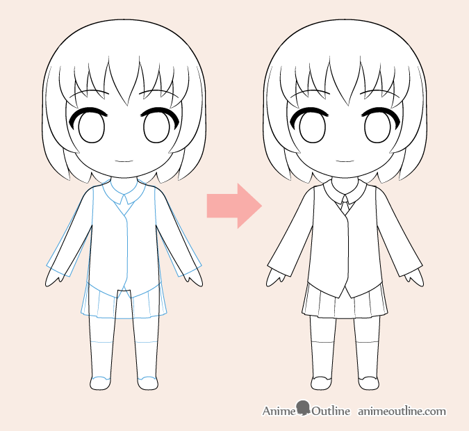 Dibujo de ropa de anime chibi