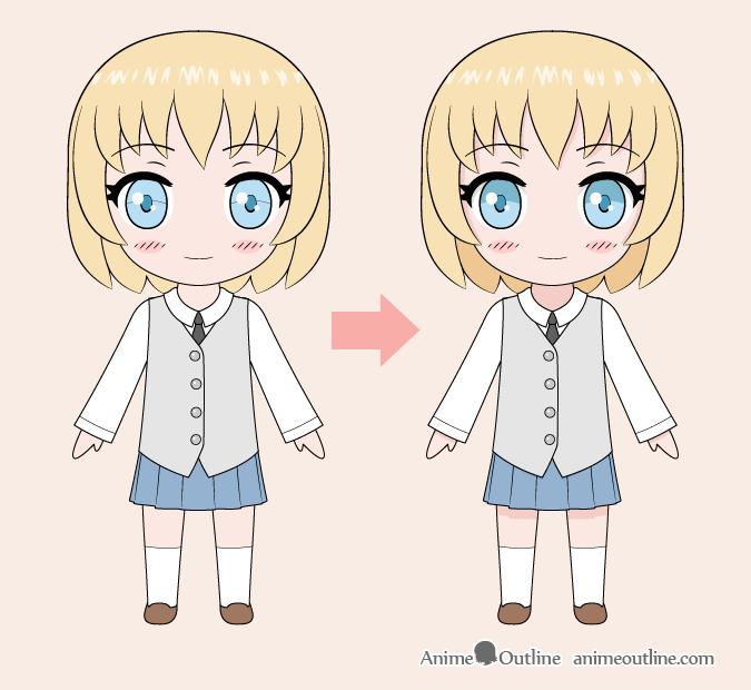 Dibujo de chica anime chibi a color