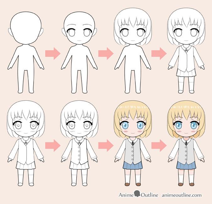 Chibi anime girl dibujo paso a paso