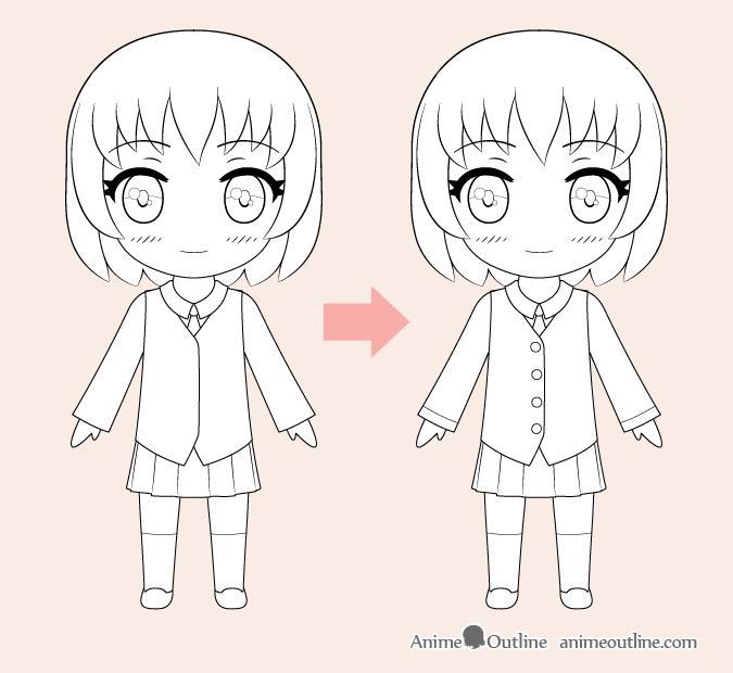 Dibujo lineal de chica anime chibi