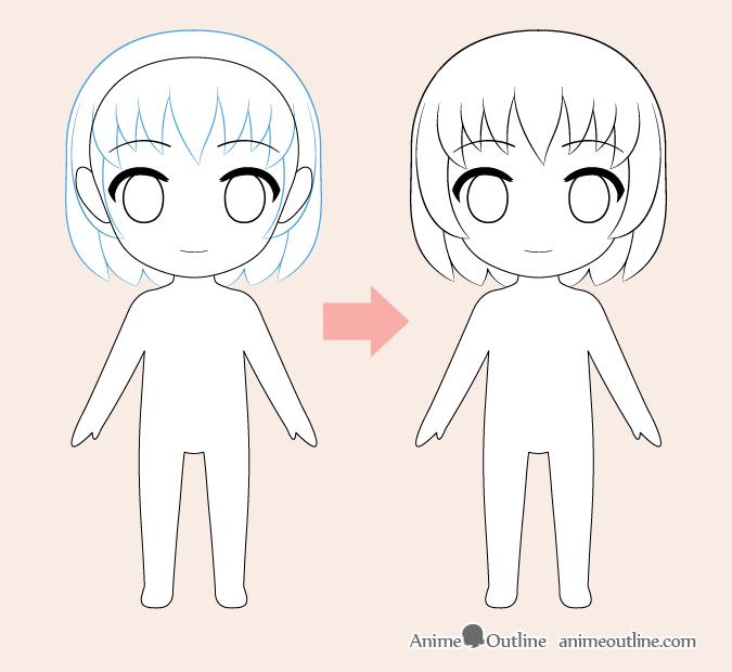 Dibujo de cabello anime chibi