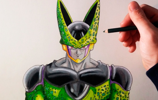 Como dibujar a Cell de Dragon Ball z, dibujos de A Cell De Dragon Ball Z, como dibujar A Cell De Dragon Ball Z paso a paso