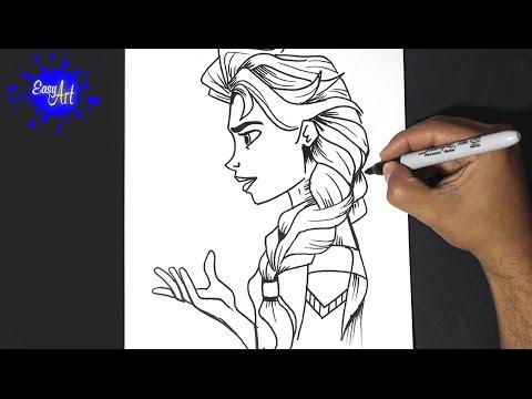 Como dibujar a Elsa de Disney, dibujos de A Elsa De Perfil, como dibujar A Elsa De Perfil paso a paso
