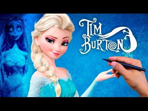 Como dibujar a Elsa de Frozen estilo Tim Burton, dibujos de A Elsa De Frozen Estilo Tim Burton, como dibujar A Elsa De Frozen Estilo Tim Burton paso a paso